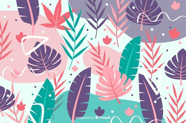 Fondo abstracto tropical dibujado a mano