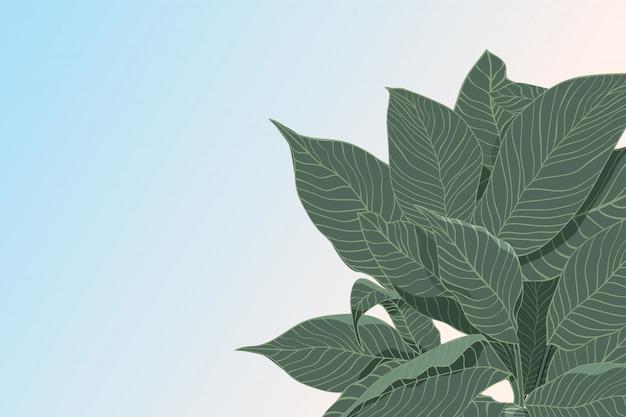 Fondo abstracto del vector con el bosquejo de hojas verdes aisladas, endecha plana. concepto de naturaleza