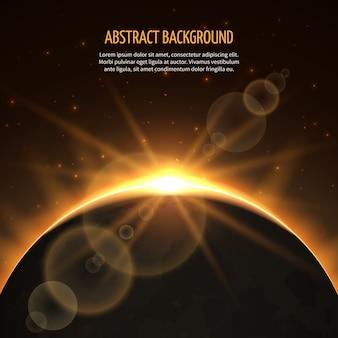 Fondo abstracto de vector de eclipse de sol. eclipse de sol en galaxia, eclipse de tierra, rayo de sol, sol de eclipse de naturaleza en la ilustración del cosmos