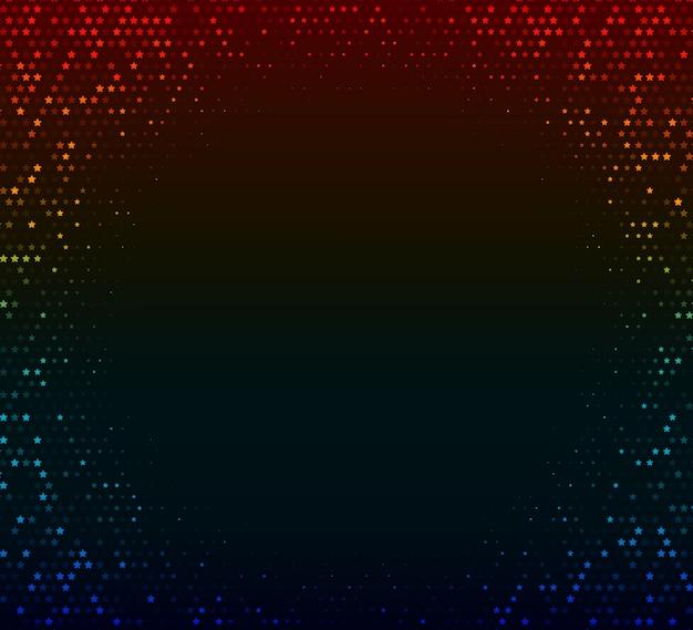 Fondo abstracto del vector. mosaico que brilla intensamente de estrellas en el fondo colorido oscuro. efecto de semitono
