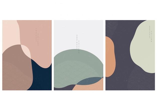 Fondo abstracto con vector de onda de estilo japonés. formas curvas