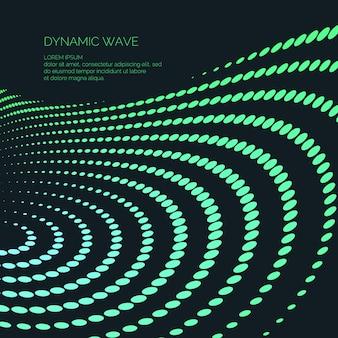 Fondo abstracto de vector con partículas, líneas y ondas dinámicas de color. ilustración adecuada para el diseño