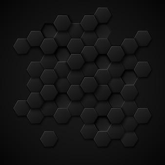 Fondo abstracto de vector de tecnología de carbono. diseño metal negro, textura material industrial.