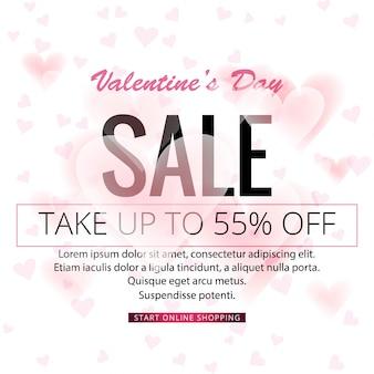 Fondo abstracto de venta de día de san valentín