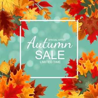 Fondo abstracto de la venta del otoño con la caída de las hojas de otoño.