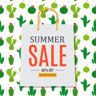 Fondo abstracto de venta de verano con bolsa de compras