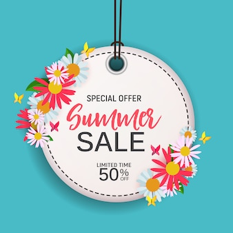 Fondo abstracto de la venta del verano de la flor con el marco. ilustración