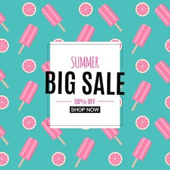 Fondo abstracto de venta de verano con hojas de palmera, flamingo y helado.