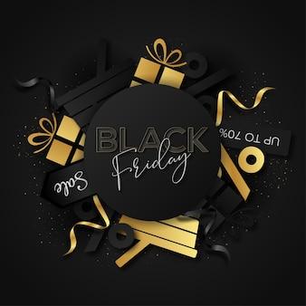 Fondo abstracto de venta de viernes negro con elementos de compras
