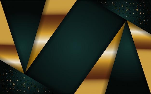 Fondo abstracto verde marino moderno con línea dorada