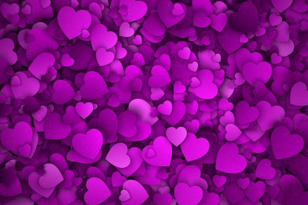Fondo abstracto violeta corazones 3d