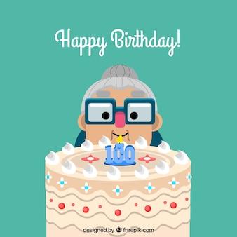Fondo de abuelita con tarta y vela de centésimo cumpleaños