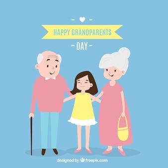 Fondo de abuelos felices con su nieta