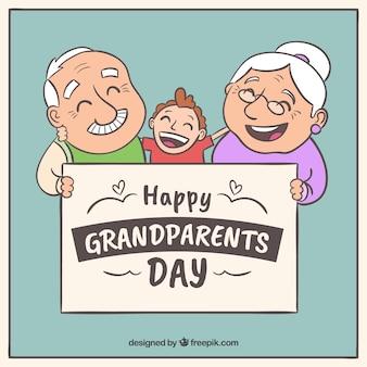 Fondo de abuelos felices con su nieto dibujados a mano