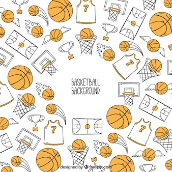 Fondo de accesorios de baloncesto dibujados a mano