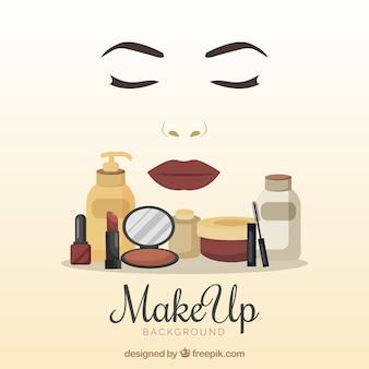 Fondo de accesorios de maquillaje