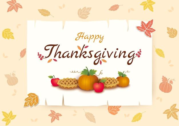 Fondo de acción de gracias calabaza y pastel en marco y patrón de hojas de otoño