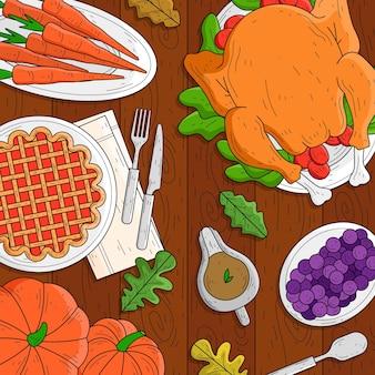 Fondo de acción de gracias dibujado a mano con comida