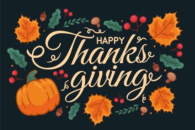 Fondo de acción de gracias dibujado a mano con hojas y calabazas