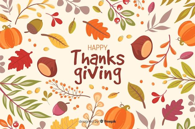 Fondo de acción de gracias dibujado a mano con hojas