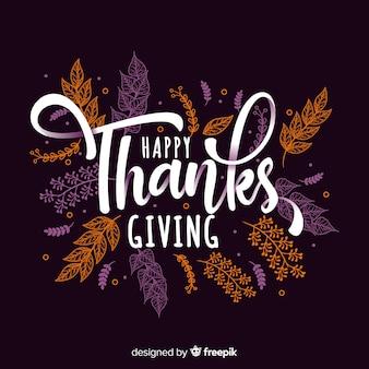 Fondo de acción de gracias dibujado a mano con lettering