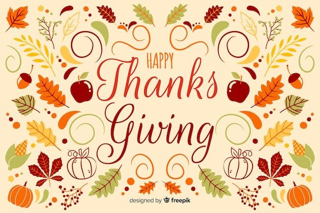 Fondo de acción de gracias dibujado a mano con manzanas y hojas