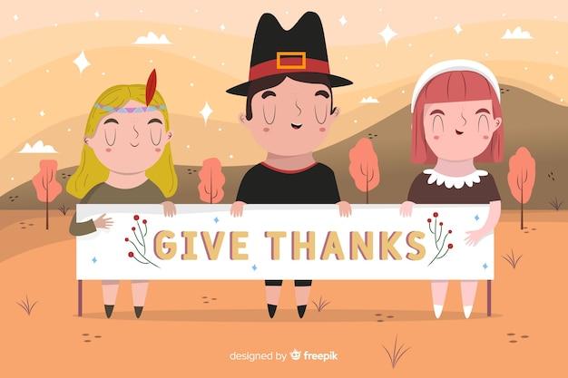 Fondo de acción de gracias dibujado a mano con personas