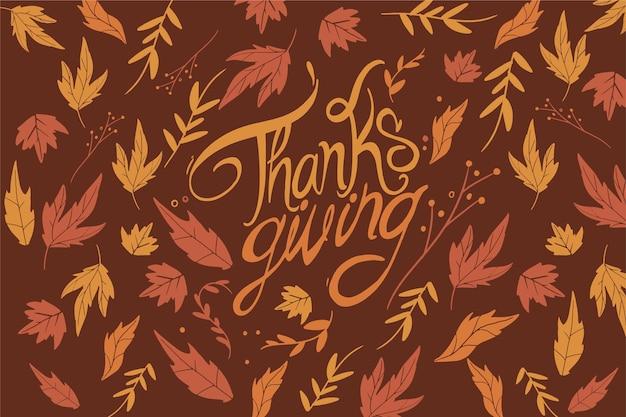 Fondo de acción de gracias con hojas de otoño