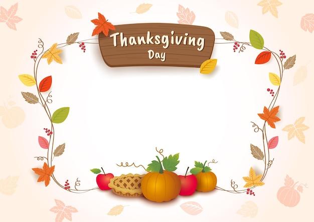Fondo de acción de gracias con pastel de calabazas y hojas de otoño.