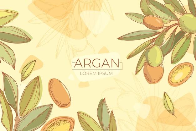 Fondo de aceite de argán dibujado a mano