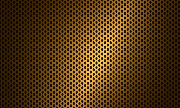 Fondo de acero metálico de textura de fibra de carbono dorado.