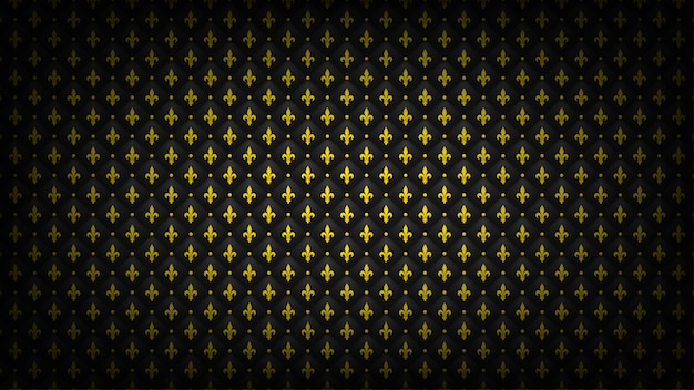 Fondo acolchado negro con el símbolo dorado de la flor de lis. fondo de pantalla de lujo real.
