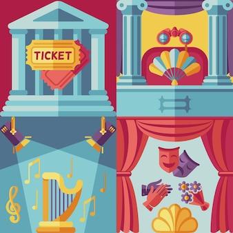 Fondo de actuación de teatro en estilo plano