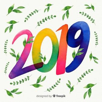 Fondo de acuarela de 2019 con hojas