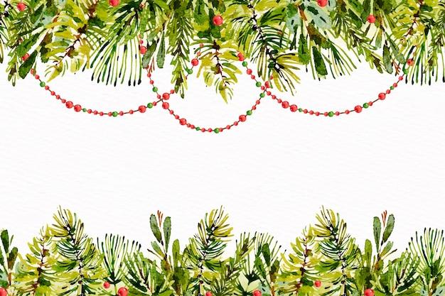 Fondo de acuarela árbol de navidad braches