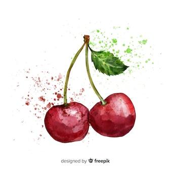 Fondo acuarela cerezas dibujadas a mano