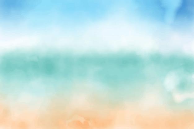 Fondo acuarela de cielo azul y playa de arena