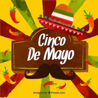Fondo de acuarela de cinco de mayo con elementos mexicanos