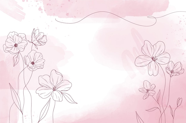 Fondo de acuarela copia espacio con elementos florales dibujados a mano
