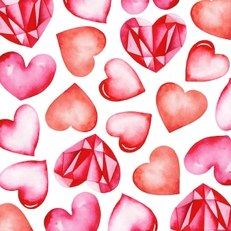 Fondo de acuarela de corazón de san valentín