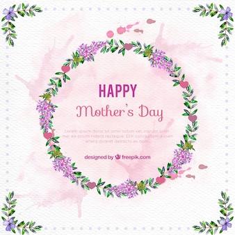Fondo de acuarela de corona floral del día de la madre