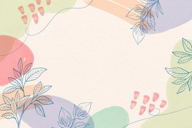 Fondo de acuarela creativa con flores dibujadas