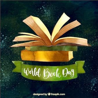 Fondo de acuarela para el día internacional del libro