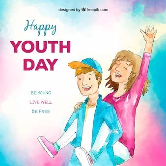 Fondo de acuarela del día de la juventud