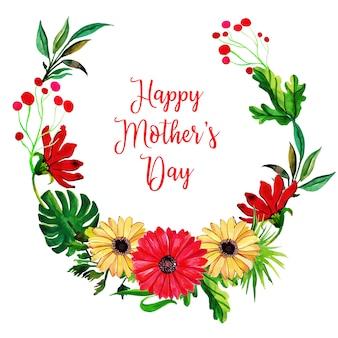 Fondo de acuarela del día del marco floral de la madre