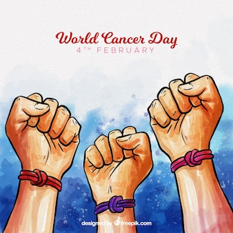 Fondo de acuarela del día mundial del cáncer