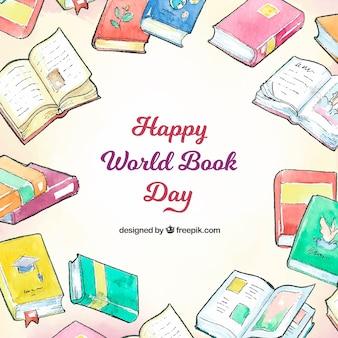 Fondo de acuarela para el día mundial del libro