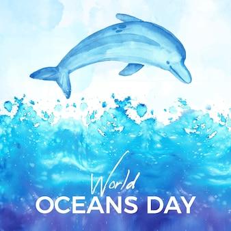 Fondo de acuarela del día mundial de los océanos
