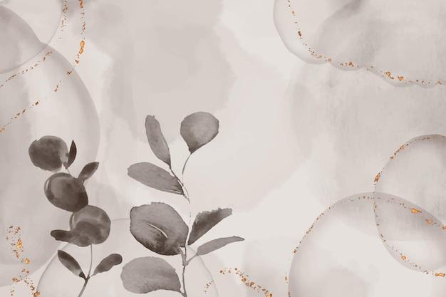Fondo acuarela dibujado a mano con hojas