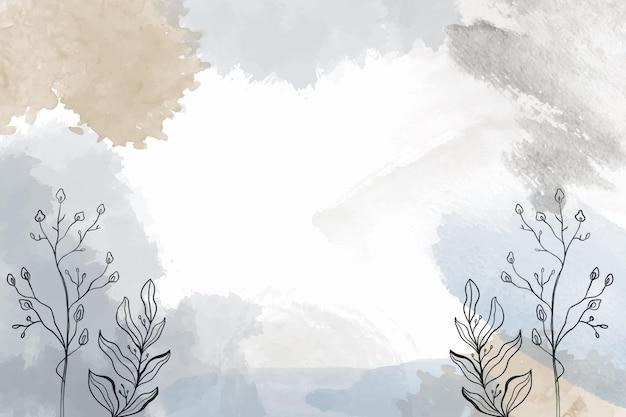 Fondo acuarela dibujado a mano con plantas